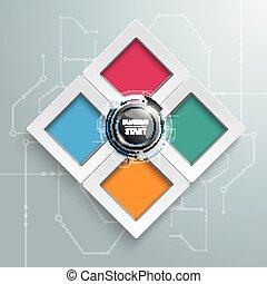 business, début, infographic, 4, gabarit, rectangles, options