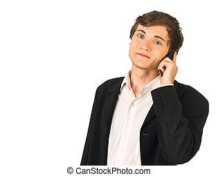 business, décontracté, jeune, appeler, confection, homme