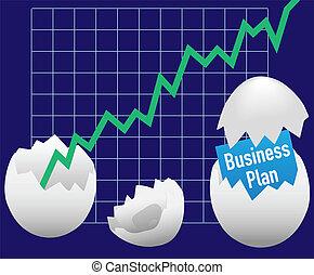 business, démarrage, croissance, plan, trappe, oeuf