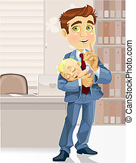 Business dad in the office with the sleeping child asked to be quiet