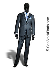 business dark grey suite on mannequin isolated on white