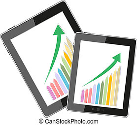 Business dashboard with graphs in a pc tablet