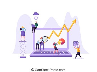 Business Data Analysis Concept. Marketing Strategy, Analytics with People Characters Analyzing Financial Statistics Data Charts on Laptop. Vector illustration