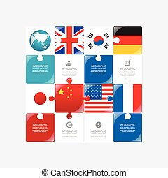 Business data process chart. Abstract elements of jigsaw concept with icons. Vector illustration world business and finance infographics design template for presentation.