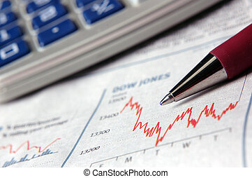 Business data - Stock prices fluctuating on the Dow Jones. ...