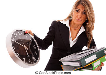 Business deadline - businesswoman holding a lot of folders...