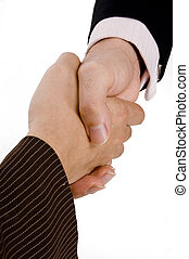 Business Deal - A man and woman shake hands