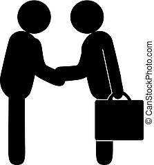 Business Deal - Representations of human beings shake hands...
