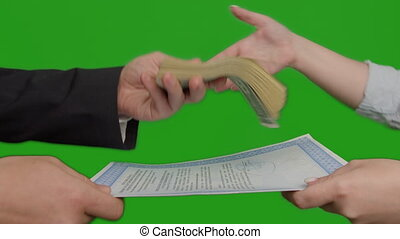 Business deal exchange document for money, green screen, close-up