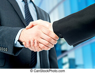 Business deal finalized, congrats! - Business handshake, the...