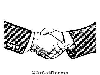 business deal - hand shaking vector illustration