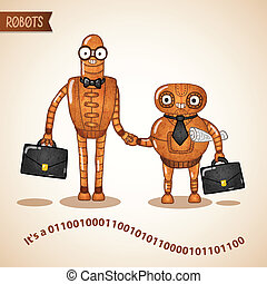 Business deal handshake concept by two retro robots vector illustration