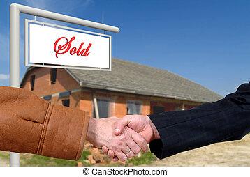 business deal, handshake on house sale - Handshake, business...