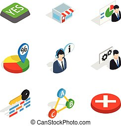 Business deal icons set, isometric style