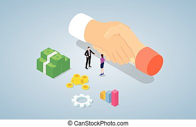 business deal or agreement concept with team people handshake with modern isometric style - vector