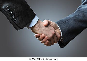 Two business men shaking hands, close up
