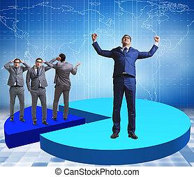 business, debout, graphique circulaire, homme affaires, concept