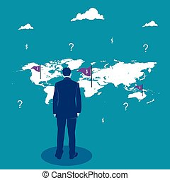 Business decision. Businessman looking on the world map. Business metaphor, vector illustration