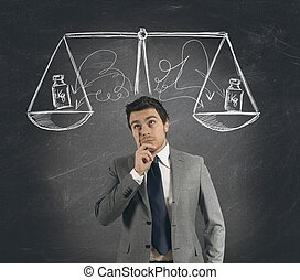 Business decision - Concept of businessman with his decision