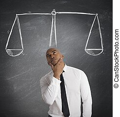 Concept of businessman with his decision