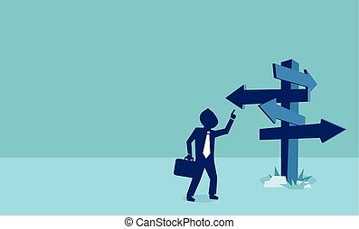Vector of a businessman looking at many arrows pointing in different directions.