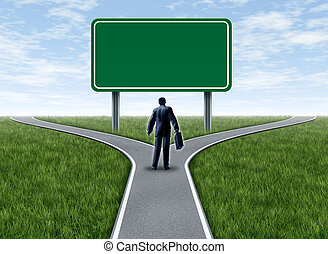 Business decision with blank sign - Business decision with a...