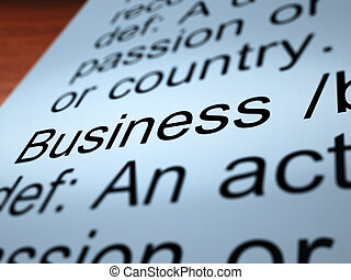 Business Definition Closeup Showing Commerce