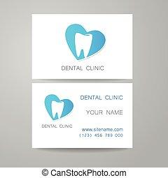 business, dentaire, clinique, gabarit, logo, carte