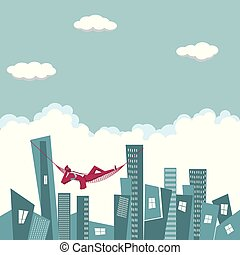 Business design concept. Businessman lying in a hammock on the city.