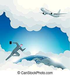 Business design concept, global business, airplane flying, businessman running.