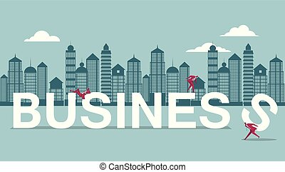 Business design concept, teamwork. Isolated on blue background.