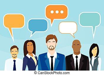 business, dessin animé, gens, groupe, conversation, discuter, bavarder, communication, social, réseau