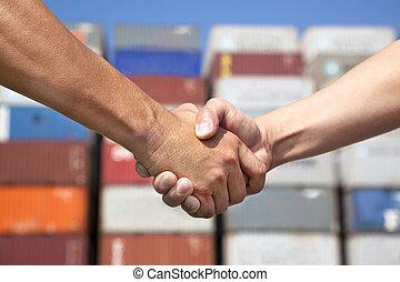 business, deux, pile, avant, poignée main, récipients, homme
