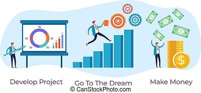 Business developer financial success steps concept. Vector flat graphic design illustration