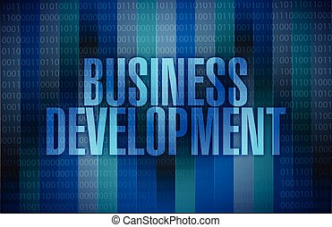 business development binary blue background