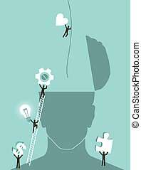 Business innovation brainstorming concept illustration. Vector layered for easy manipulation and custom coloring.