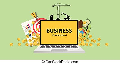 business development concept with laptop money and gold target  graph chart on paper document  construction tools