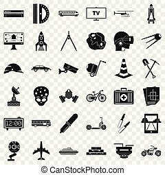 Business development icons set, simple style