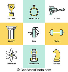 Business development skills flat icons set