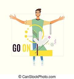 Business development vector illustration of man holding ...