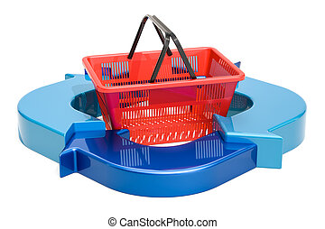 Business diagram from arrows with shopping basket, 3D rendering