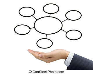business diagram holding by businessman's hand