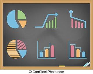 business diagram icons on blackboar