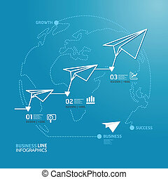 business diagram paper airplanes line style template / can be used for infographics / horizontal cutout lines / graphic or website layout vector