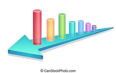business, diagramme, à, bleu, flèche