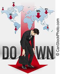 business, diagramme, bas, fond, homme affaires accentué, tomber