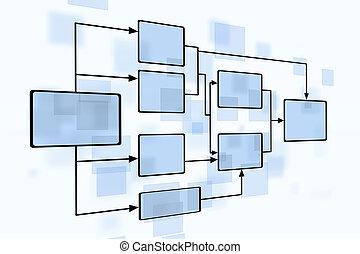 business, diagramme, couler, bleu