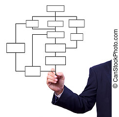 business, diagramme, couler, isolé, main, dessin, homme