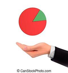 business, diagramme, tarte, possession main, 3d