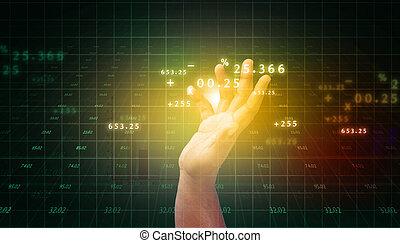 business, diagramme, toucher, progrès, homme